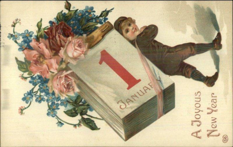 New Year - Boy Carrying Giant Calendar & Flowers on Back c1910 Postcard