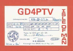QSL AMATEUR RADIO CARD – BRIDE, ISLE OF MAN – 1989
