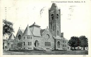 Nashua New Hampshire~First Congregational Church~1946 Postcard