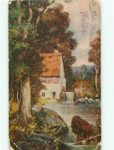 Painting Cottages Pond Waterfall Tree 1910 Trees Brook   Postcard # 5624