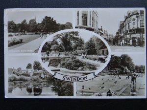 Wiltshire SWINDON 5 Image Multiview c1950s RP Postcard by Valentine K5134