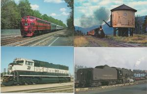 Lot of 4 Train Postcards RPPC Railroad Burlington Northern Lehigh Valley
