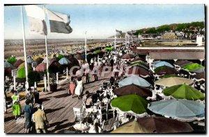 Postcard Modern Fleurie Deauville Beach Bar boardwalk and promenade