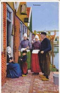VOLENDAM, North Holland, Netherlands; Man, Women and Boy wearing traditional ...