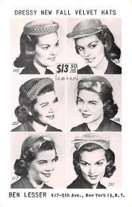 Advertising Post Card Ben Lesser Velvet Hats 417 5th Ave, New York, NY USA Ty...