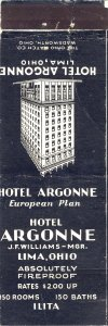 Early Lima, Ohio/OH Matchcover, Hotel Argonne