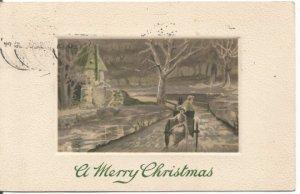 Woman in Horse Drawn Buggy headed toward Farmland Vintage Postcard Christmas