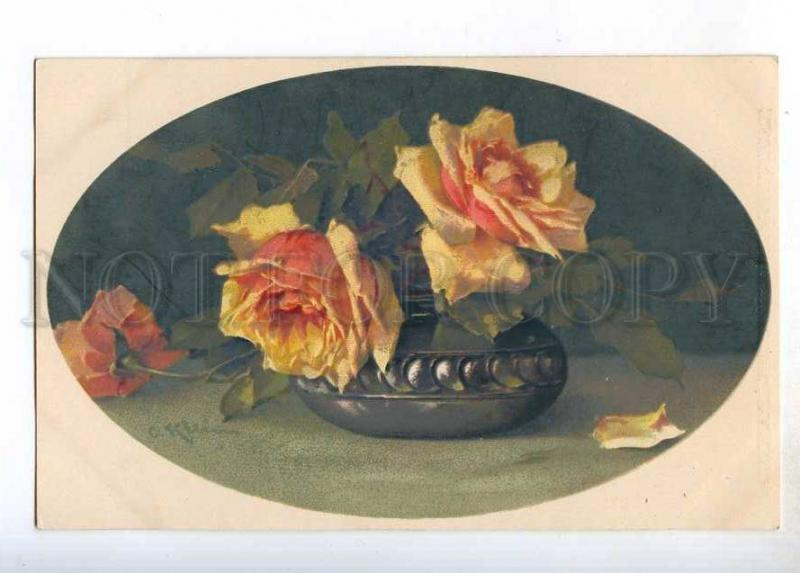 244481 Lovely ROSES in Vase by KLEIN Vintage Meissner Buch PC