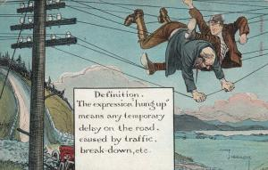 AS; Charles Crombie, 1900-10s; Men hung up in power lines