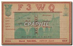 Postcard Old Telegraphie F3WQ David Marurel Junas Gard