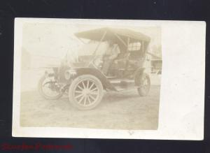 RPPC REPUBLIC KANSAS ANTIQUE AUTO CAR AUTOMOBILE 1911 REAL PHOTO POSTCARD