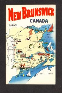 NB New Brunswick Canada Province Map Newcastle Woodstock Perth Carte Postale PC