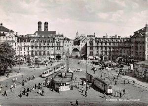 Vintage Real Photo Postcard, Munchen Karlsplatzrondellm Munich Germany Trams AK2