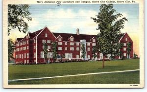 Postcard PA Grove City College Mary Anderson Pew Dormitory Campus Linen  R42