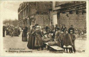 poland germany, ORTELSBURG SZCZYTNO, Fruit Sellers (1915) East Prussia Postcard