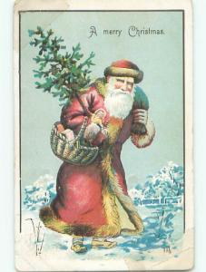 Tape Repair Divided-Back CHRISTMAS - LONG ROBE SANTA CARRIES XMAS TREE o2851