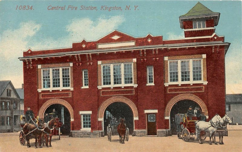 H41/ Kingston New York Postcard c1910 Central Fire Station Department