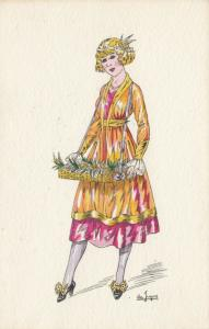 ART DECO ; Female wearing yellow/pink dress, wicker tray with flowers, 1910-20s