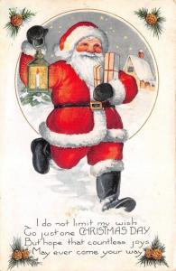 Christmas~Santa Carries Lantern & Gifts Thru Snow~Pine Cones~Emboss~Whitney Made
