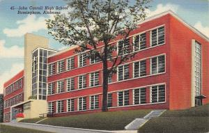 Birmingham Alabama~John Carroll High School~Art Deco Architecture~1940s Postcard