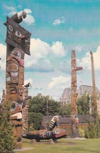 Thunderbird Park,  Empress Hotel in background,  Victoria,  B.C.,  Canada,  4...