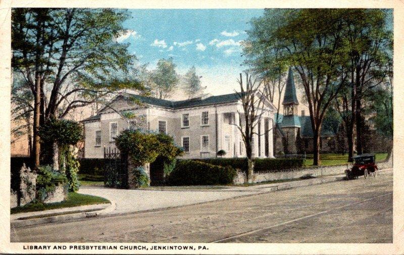 Pennsylvania Jenkintown Library and Presbyterian Church 1920 Curteich