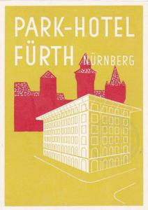 GERMANY NUERNBERG PARK HOTE FUERTH VINTAGE LUGGAGE LABEL