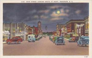 South Carolina Anderson Main Street Looking South At Night
