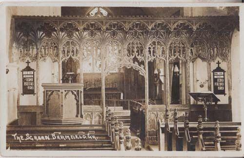 Bramfield Church Interior Screen Real Photo Antique Hertfordshire Postcard