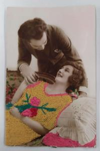 Romance Lady and Man Woven Silk Embroidered Tinted Real Photo Postcard J74859