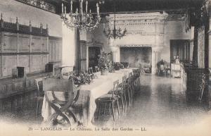 France Langeais castle interior salle des gardes branch lights early postcard
