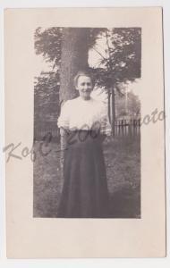 RPPC Woman in Garden by Tree Photo Azo Postcard A30