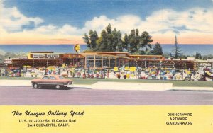 The Unique Pottery Yard US 101 Highway San Clemente California linen postcard