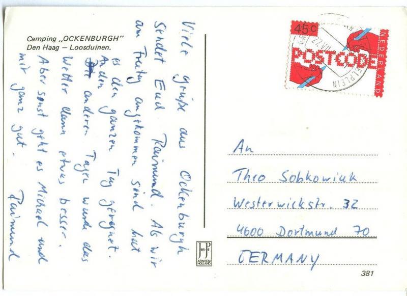 Netherlands, Camping Ockenburgh, 1981 used Postcard