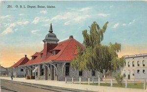 G17/ Boise Idaho Postcard 1914 O.S.L. Railroad Depot Building 3