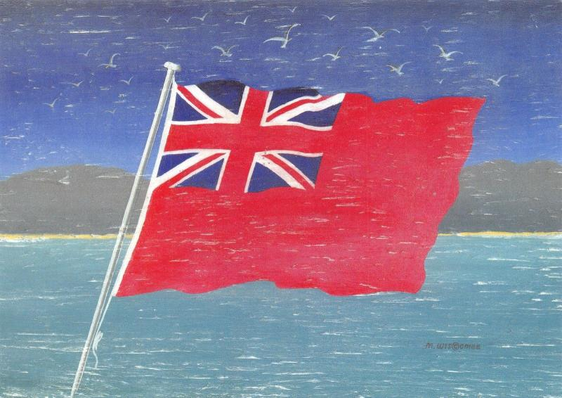 Postcard Red Ensign from an Original Driftwood Painting by Martin Wiscombe B18