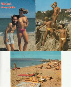Lot 3 postcards naturism beach topless beauties all France