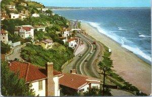 Santa Monica California Postcard 1950s Pacific Palisades Highway Ocean View LA