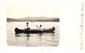 18746 VT lake Morey 1912 Canoeing on Lake RPC