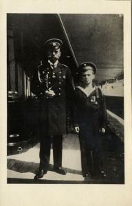 Czar Nicholas II and Tsarevich Alexei Nikolaevich of Russia (1910s) RPPC