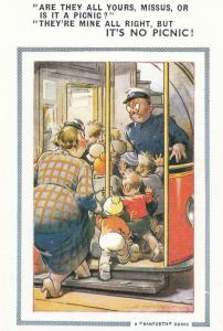 Giant Family On Bus Conductor Fat Lady Comic Humour Postcard