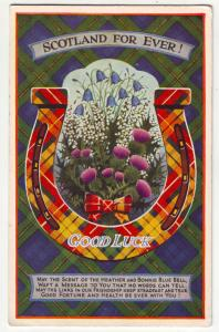 P927 old card scotland for ever good luck horseshoe