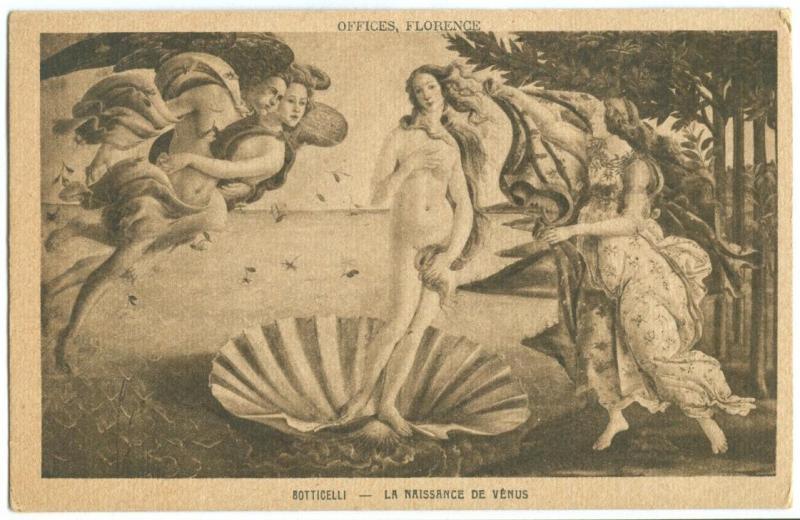 Botticelli La Naissance De Venus Early 1900s Unused Hippostcard
