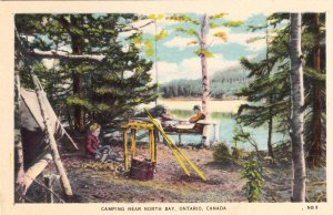 P1921 vintage postcard camping near north bay ontario canada unused