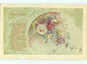 Pre-Linen Language Of Flowers signed BEAUTIFUL PANSY FLOWERS AC4127