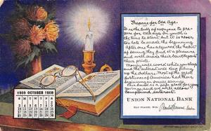 Eau Claire Wisconsin~Union Nat'l Bank Calendar~Oct 1909 Prepare for Old Age