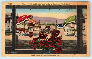 DEATH VALLEY NATIONAL MONUMENT, CA ~ Patio at STOVE PIPE WELLS c1940s Postcard