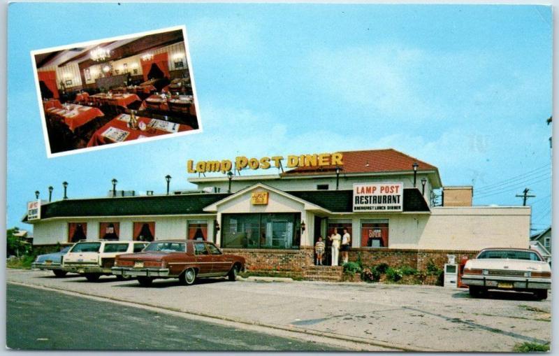 North Wildwood, New Jersey Postcard LAMP POST DINER Front View C1970s Unused