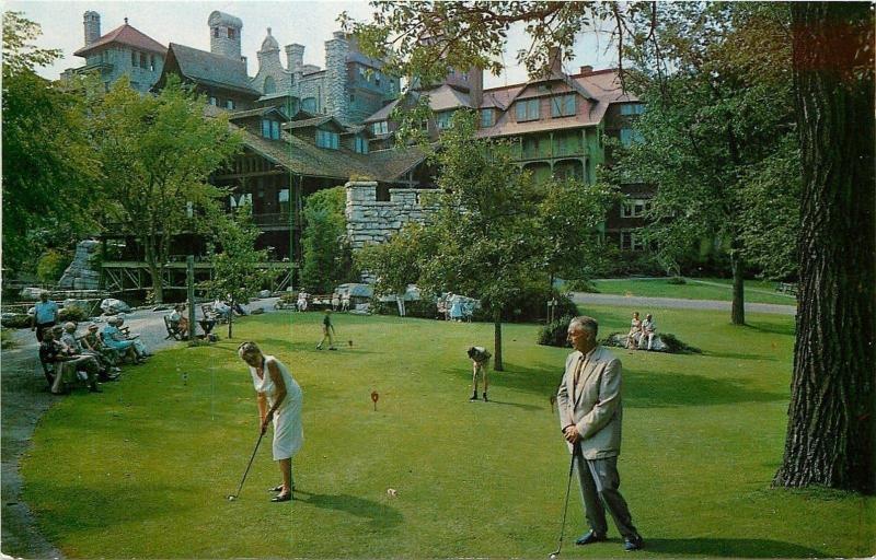 Mohonk Lake New York~Golfers at Lake Mohonk Mountain House near E Entrance 1950s
