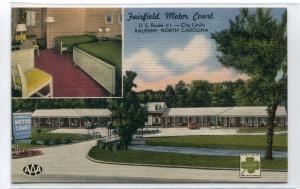 Fairfield Motor Court Motel US 1 Raleigh North Carolina linen postcard